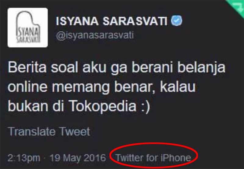 Twitter Isyana oppo iprice
