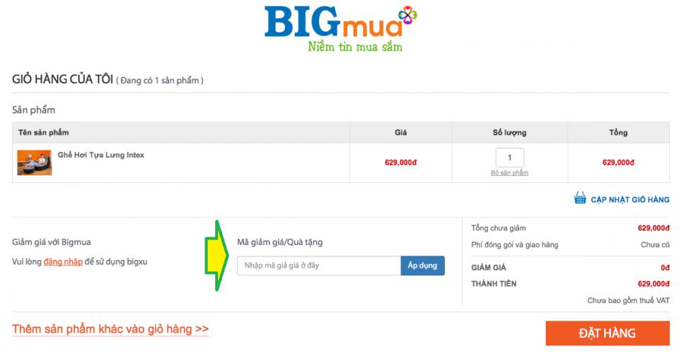 Cách sử dụng mã giảm giá tại Bigmua